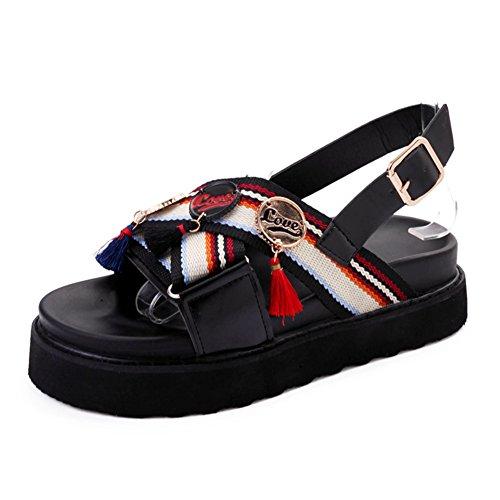 Ladies Platform Sandalen,Koreanische Version Des Böhmischen Non-slip Sand Schuhe.open-toe Schuhe A