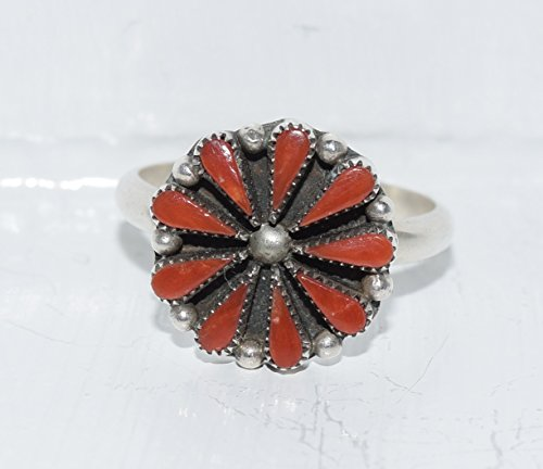 (Traditional Petite Point Ring with Genuine Red Coral SIZE 9)