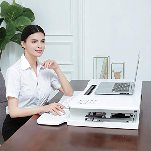 LIULIFE Laptop Stand for Desk Sit Stand Height Adjustable Desk Computer Workstation Standing Desk Converter with Keyboard Tray,White-WithKeyboardBoard by LIULIFE (Image #8)