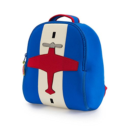 Dabbawalla Bags Preschool & Toddler Airplane Backpack, Blue/Red