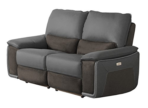 Cheap Homelegance Corazon Two-Tone Double Power Reclining Loveseat Top Grain Leather Fabric Matched, Navy Grey