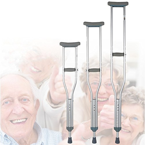 XIHAA Thick Tube Adjustable Aluminum Alloy Medical Crutch, With Comfortable Underarm Pad And Handgrip Silver -M(1 Pair) by XIHAA (Image #5)