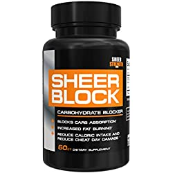 Sheer BLOCK Carb Blocker Pills - Pure White Kidney Bean and Green Tea Extract Carbohydrate Blocker Supplement for Losing Weight, New from Sheer Strength Labs, 60 Weight Loss Pills