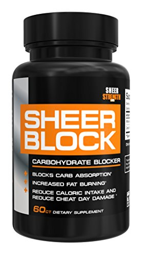 Sheer BLOCK Carb Blocker Pills - Pure White Kidney Bean and Green Tea Extract Carbohydrate Blocker Supplement for Losing Weight, New from Sheer Strength Labs, 60 Weight Loss - Carb Burner