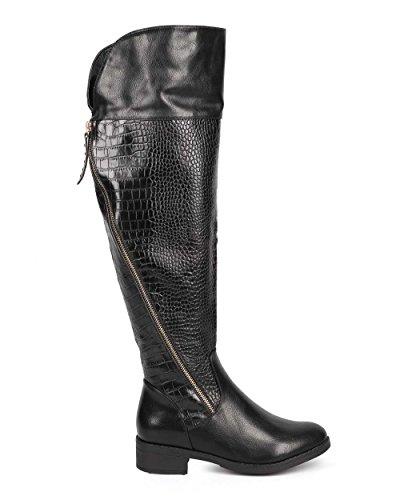 Liliana DD04 Women Snakeskin Round Toe Over The Knee Zip Riding Boot - Black CkCJA7GR