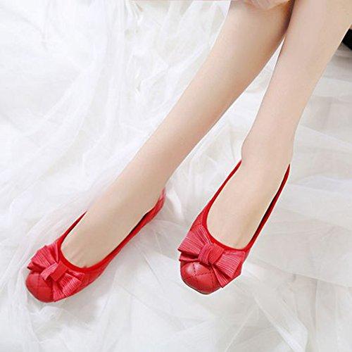 Mocassini Da Donna Fashion Mocassini Slip On Square Toe Bow Classic Dress Mocassini Da Ballo Casual Rosso