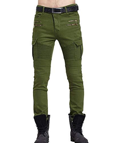 Multitasche Grün Uomo Casual Vintage Cargo Jeans Motociclista Stile Skinny Cerniera Con Pantaloni In Fit Stretch Da Slim Denim Semplice Lanceyy ITAx1qHww
