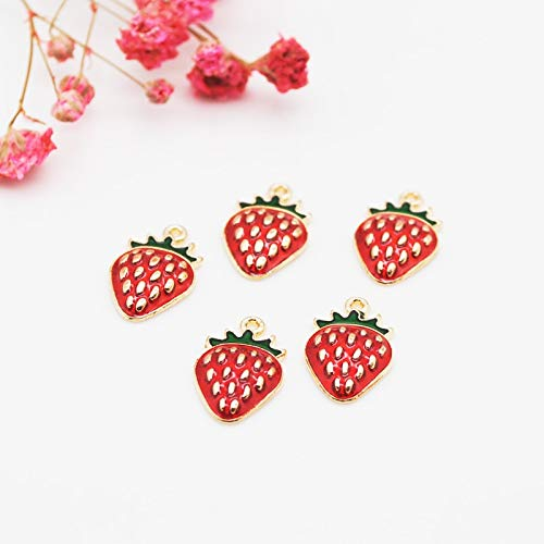 - Man Lammers - 20pcs/lot New Arrival Cute Gold Tone All Enamel Strawberry Charms Pendants For Jewelry Making