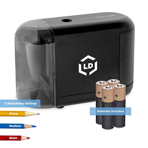 LD Products Electric Pencil Sharpener, Batteries & Wall Power Supply Included - Professional, Home and Office - Small, Durable, Heavy Duty, Kid Friendly, 3 Sharpening Settings