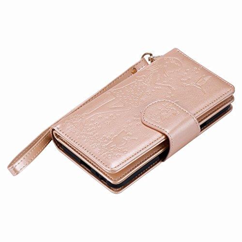 Yiizy LG Nexus 5X Funda, Chica Repujado Diseño Solapa Flip Billetera Carcasa Tapa Estuches Premium PU Cuero Cover Cáscara Bumper Protector Slim Piel Shell Case Stand Ranura para Tarjetas Estilo (Dorad