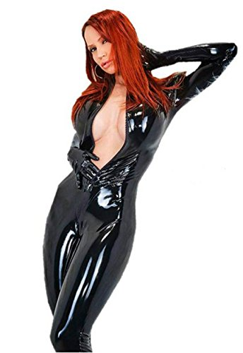 Fashion Queen Footed Catsuit Halloween Catwoman Cosplay Sexy Jumpsuit Bodysuit (5X-Large, Black) -