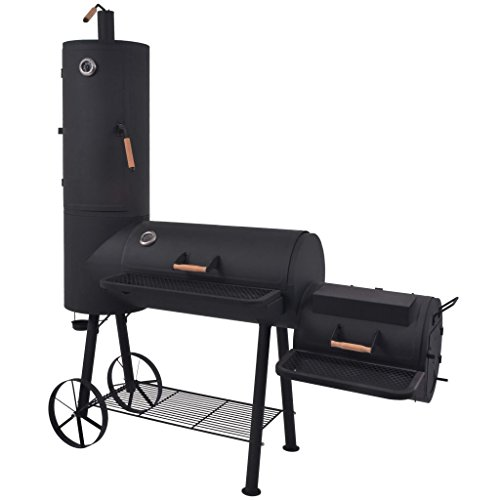 vidaXL BBQ Offset Smoker with Bottom Shelf Black XXL Charcoal Barbecue Grill