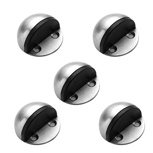 TPOHH SUS304 Brushed Stainless Steel Half Dome Floor Door Stop with Catch Screw Mount 5 PCS