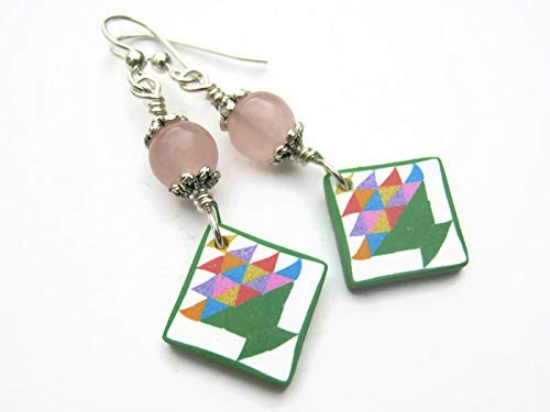 (Basket Quilt Block Earrings, Sterling Silver, Rose Quartz Quilters Jewelry, Limited Edition Polymer Clay)