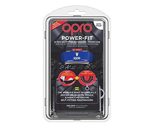 OPRO Power-Fit Mouthguard | Adult Handmade Gum Shield + Strap for Football, Lacrosse, Hockey and Other Contact Sports - 18 Month Dental Warranty (Ages 10+) (Blue) by OPRO (Image #1)