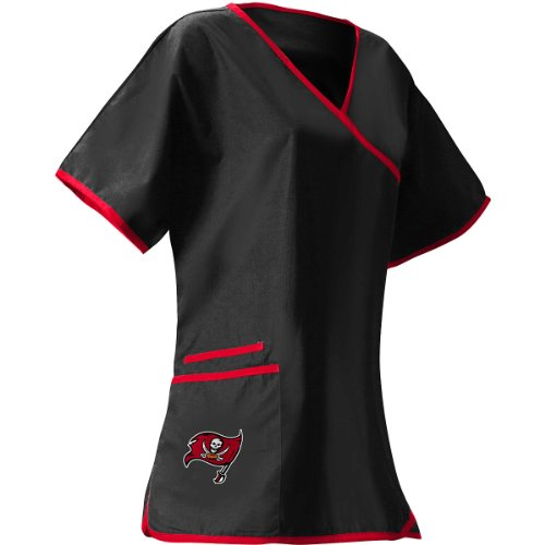 Scrub Dudz Women's  NFL Women's Mock Wrap Scrub Top, Tampa Bay Buccaneers, Medium, Red