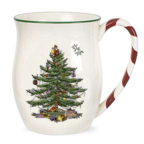 Spode Christmas Tree Candy Cane Mugs, Set of 4 4 Christmas Tree Mugs