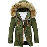 TWGONEUnisex Women Men Outdoor Fur Wool Fieece Warm Winter Long Hood Coat Jacket GN/XL(X-Large,Green)