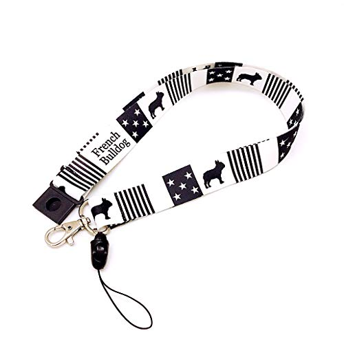 "Frenchic French Bulldog Fabric Lanyard Neck Strap with Safety Breakaway Clip Black Stars and Stripe Wide 1"" for ID Card Mobile Phone Badge Holder"
