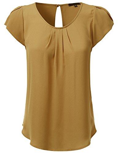 JJ Perfection Women's Woven Petal Short Sleeve Blouse Mustard 2XL