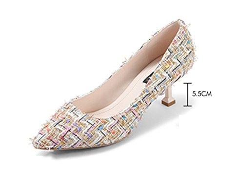 Zcjb Temporada De Primavera Tira Damenschuhe Tacones De Aguja Señaló Zapatos Zapatos De La Boca Poco Profundas (pintura: Estilo 2, Tamaño: 35) Estilo 1