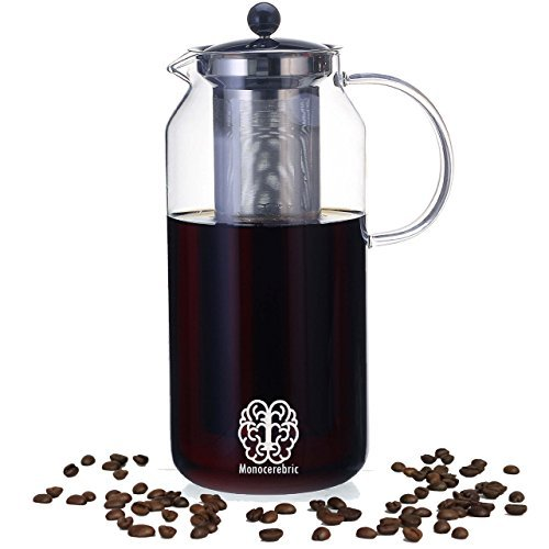 Premium 50oz. Hand Blown Cold Brew Coffee Maker and Tea Infuser - With Removable Stainless Steel Filter and Large Borosilicate Glass Pitcher 1500ml