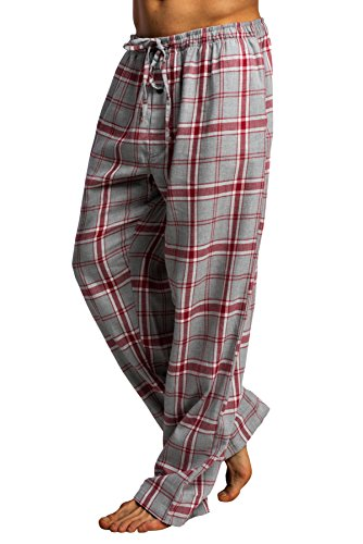 CYZ Men's 100% Cotton Super Soft Flannel Plaid Pajama Pants-LightBlueTartan-L