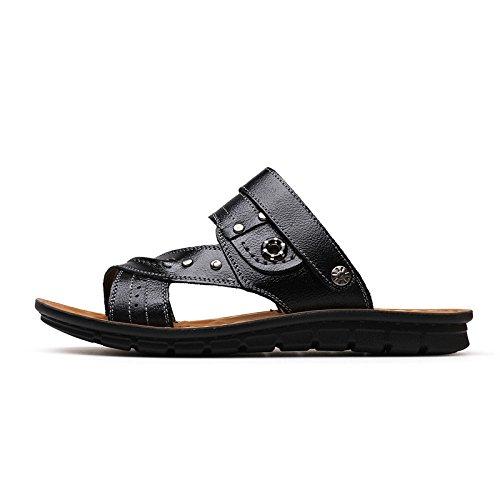 Uomini sandali estate vera pelle sandali Antiscivolo indossabile Doppio uso vera pelle Spiaggia Tempo libero viaggio scarpa ,nero,US=7,UK=6.5,EU=40,CN=40