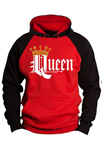 SR Couple Matching King Queen Crown Two Tone Raglan Hoodie Pullover Hooded Sweatshirt-REDBLACK-XLarge-Queen