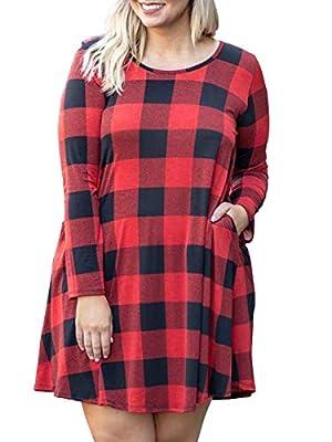Womens Plus Size Buffalo Plaid Dress Long Sleeve Midi Casual Tunic Shirt Dresses with Pockets