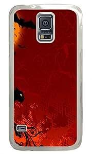Cats Halloween Bats Vector Art Custom Samsung Galaxy S5/Samsung S5 Case Cover Polycarbonate Transparent