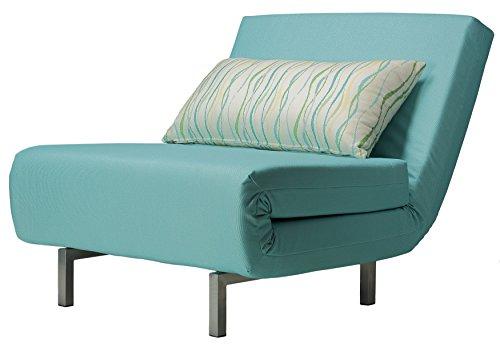 Cortesi Home Savion Convertible Accent Chair futon, Aqua Blue - Oversized Sleeper Chair