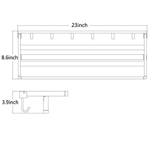HOMEIDEAS Towel Shelf 23-Inch SUS304 Stainless Steel Bathroom Towel Rack with 6 Hooks Wall Mount Folding Bath Towel Bar with Shelf,Brushed Finish chic