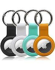 4 Pack Cases voor AirTags -Pet Loop Houder -Drop-Proof Viewfinder Cover -Zachte Siliconen Beschermhoes, Krasbestendig en Lichtgewicht (Zwart en wit groen oranje)