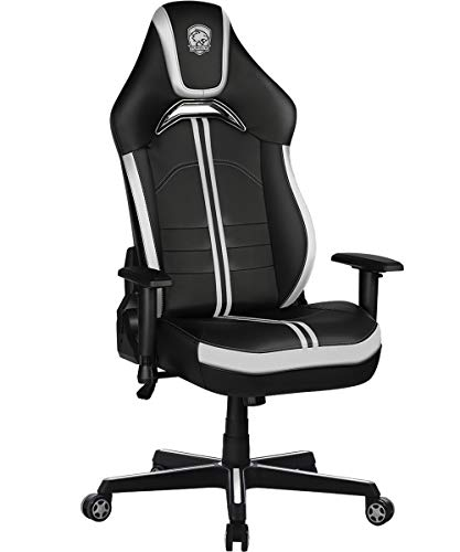 Furious Gaming Chair Racing Style High-Back PU Leather Office Chair Computer Desk Chair Executive Ergonomic Style Swivel Chair with Headrest Lumbar Support White