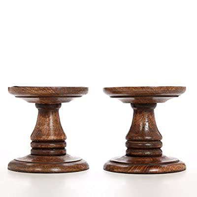 """Hosley Set of 2 Wood Pillar Candle Holders - 5"""" High. Ideal Gift for Weddings, Bridal, Party, Spa, Reiki, Meditation, Votive / LED / Pillar Candle Gardens"""