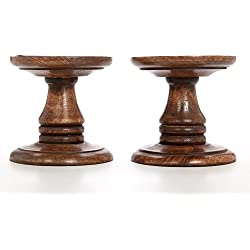 """Hosley Set of 2 Wood Pillar Candle Holders - 5"""" High. Ideal Gift for Weddings, Bridal, Party, Spa, Reiki, Meditation, Votive/LED/Pillar Candle Gardens"""
