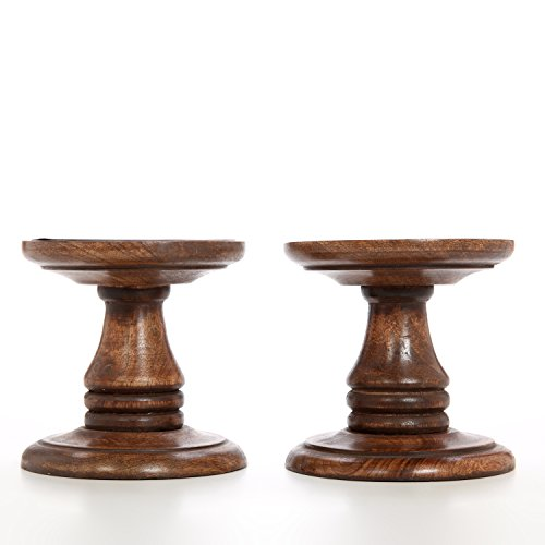 "Hosley Set of 2 Wood Pillar Candle Holders - 5"" High. Ideal Gift for Weddings, Bridal, Party, Spa, Reiki, Meditation, Votive/LED/Pillar Candle Gardens"