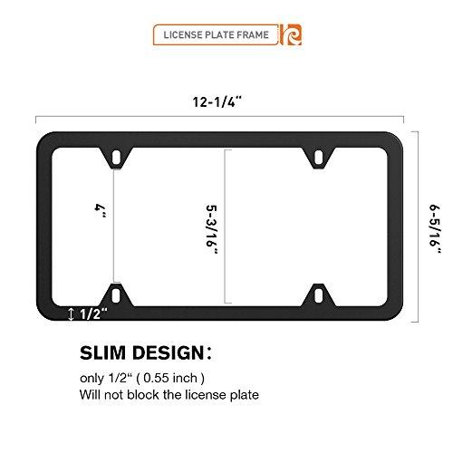 Karoad Black License Plate Frames, 2 PCS Stainless Steel Car