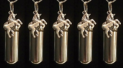 Unicorn Keepsake (Set of FIVE - Mythical Unicorn Personal CREMATION URN Keepsakes with Velvet Pouches & Fill Kit)