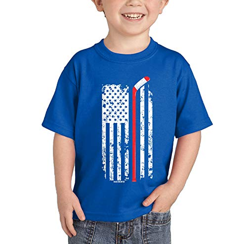 Hockey Stick American Flag - Red Line Infant/Toddler Cotton Jersey T-Shirt (Royal Blue, 18 Months)