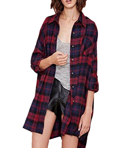 ZANZEA Women's fannel Plaid Check Long Sleeve Shirts Buffalo Loose Casual Tartan Cardigan Blouse Red US 14 (Tartan Check)