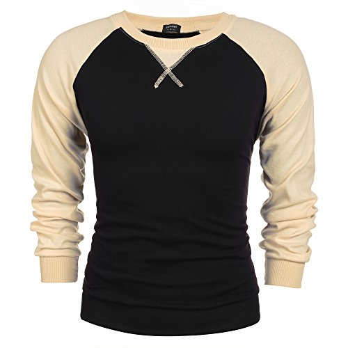 Coofandy Mens Long Sleeve T-shirt Casual Tee Cotton Raglan shirts Black Medium