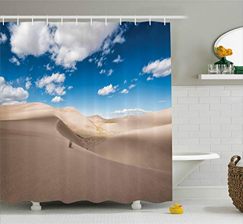 Panorama Landscape (Lunarable Wilderness Shower Curtain, Panorama of Desert Landscape with Sand Dunes National Park Colorado, Cloth Fabric Bathroom Decor Set with Hooks, 70 Inches, Warm Taupe Blue White)