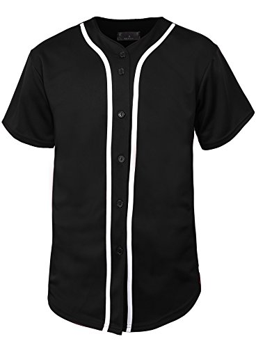 Mens Baseball Jersey Button Down T Shirts Hipster Plain Hip Hop 1UPA02 (Large, 01 Black/White) Full Button Down Jersey