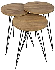 Avis Nesting Table Set of 3 MDF Wooden Coffee Table with metal legs