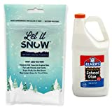 Let it Snow Instant Snow Powder (4 Gallons) and Elmer's Glue (1 Gallon) - Mix Makes Magical Fluffy White Artificial Snow - Perfect for Cloud Slime! Frozen Theme Birthday Parties and Snow Decorations!