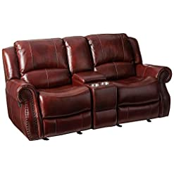 Farmhouse Living Room Furniture Cambridge Telluride Leather Reclining Loveseat, Brown farmhouse sofas and couches