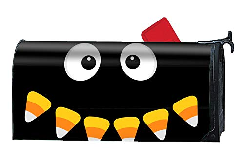 Verna Christopher Happy Halloween Scary Face Magnetic Mailbox Cover Mailwrap, All Weather, Standard Size Mailbox Covers and Wraps for -