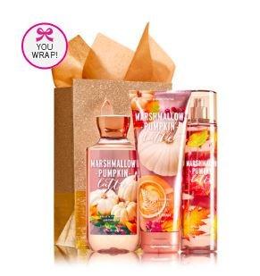 Bath & Body Works MARSHMALLOW PUMPKIN LATTE Fragrance Favorites Gift Kit ~ Shower Gel ~ Fragrance Mist & Body Cream (Pumpkin Gift)
